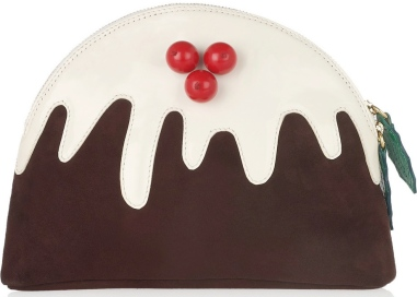 Christmas Pudding suede and patent-leather clutch